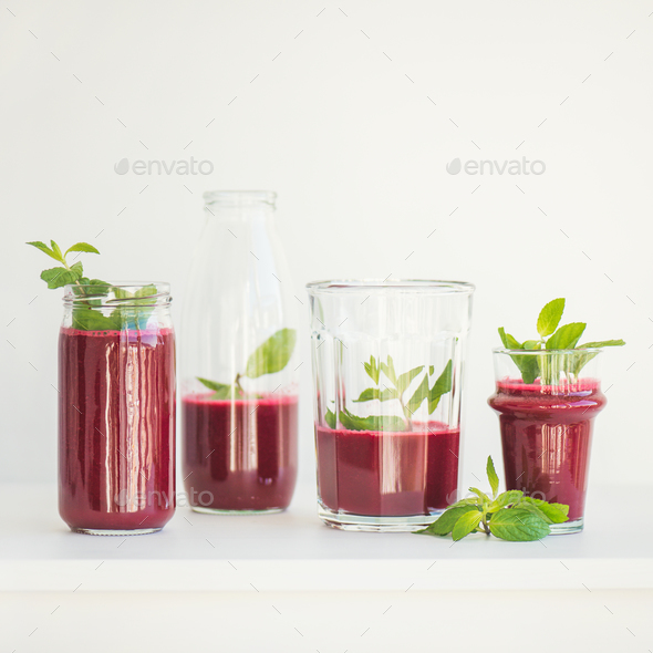 Fresh morning beetroot smoothie or juice in glasses, square crop - Stock Photo - Images