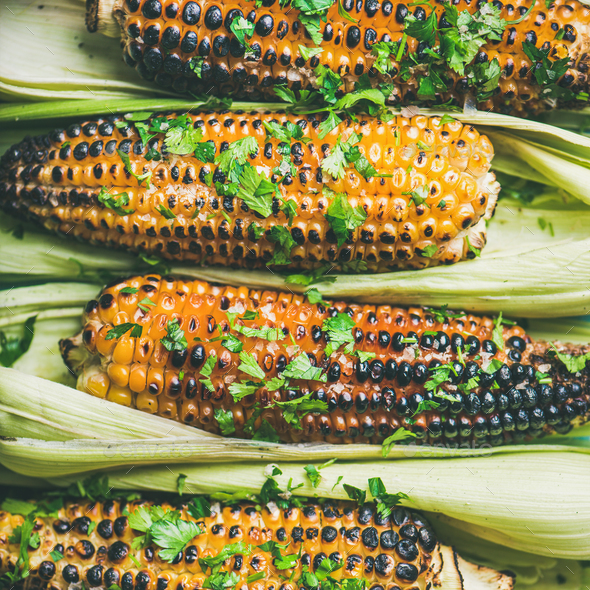 Flat-lay of grilled sweet corn with spices and herb, close-up - Stock Photo - Images