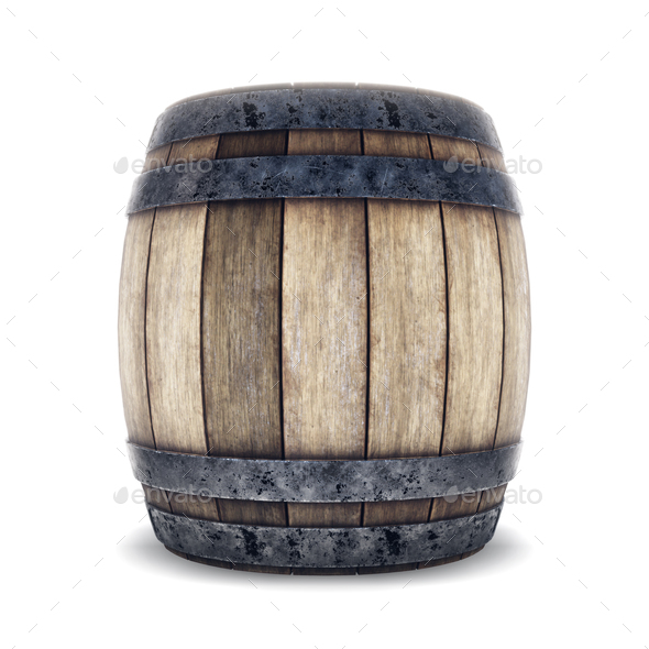 Wooden barrel with iron hoops isolated on white background. 3d r - Stock Photo - Images