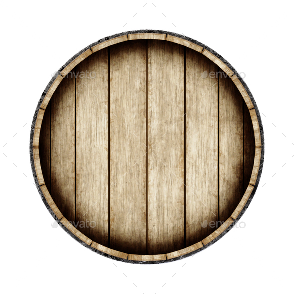Wooden barrel isolated on white background, top view. 3d renderi - Stock Photo - Images
