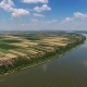 Aerial View of Fields and Danube River in Serbia