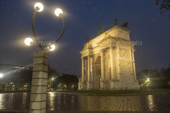 Milan: Arco della Pace at evening - Stock Photo - Images