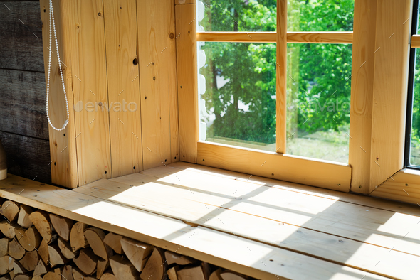 Empty room, wooden window with shadow is projected on the wooden sill - Stock Photo - Images