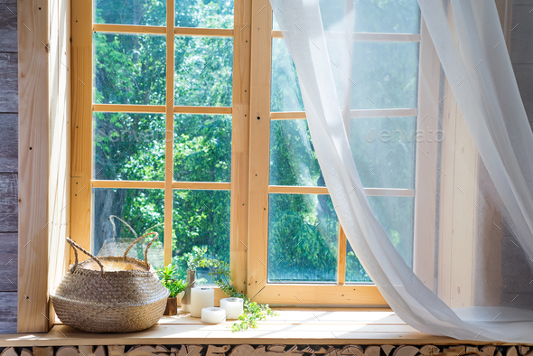 Empty room, wooden window with with curtain and window - Stock Photo - Images