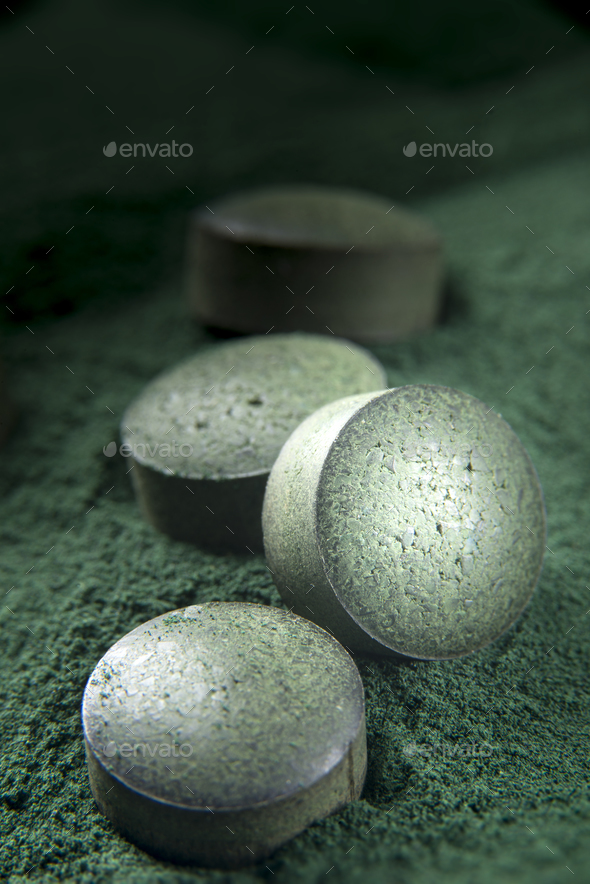 Spirulina Tablets and powder - Stock Photo - Images