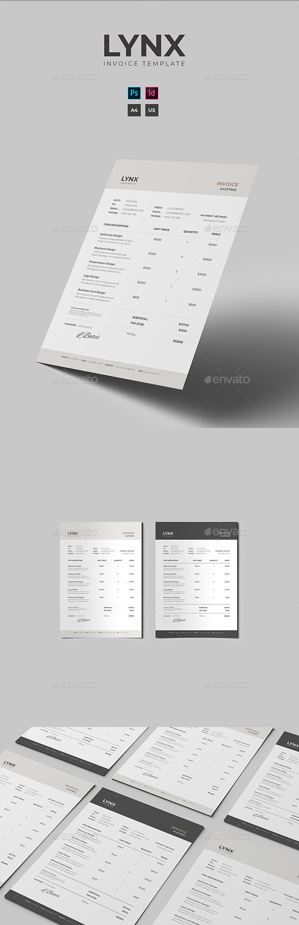 Lynx Invoice Template - Proposals & Invoices Stationery
