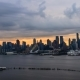 Skyline of Manhattan Riverside Seen From Hamilton Park Weehawken, New Jersey, USA, Clouds Moving - VideoHive Item for Sale
