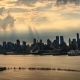 The Skyline of Midtown Manhattan Skyscrapers Silhouette at Sunset Filmed From the the New Jersey - VideoHive Item for Sale