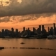 New York Manhattan Riverside, Seen From New Jersey, VIA 57 West, Red Sunset Cloudy Sky - VideoHive Item for Sale