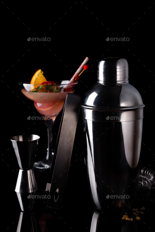Different cocktails in glass glasses with Bar accessories - Stock Photo - Images