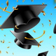 Graduation Cap Thrown up and Golden Foil Confetti - GraphicRiver Item for Sale
