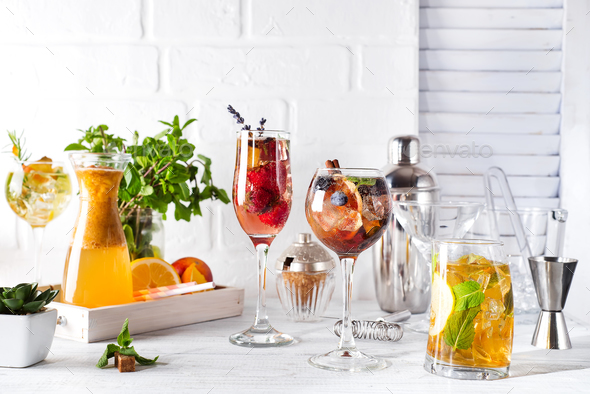 Set of classic cocktails with Bar accessories on white wooden backgorund - Stock Photo - Images