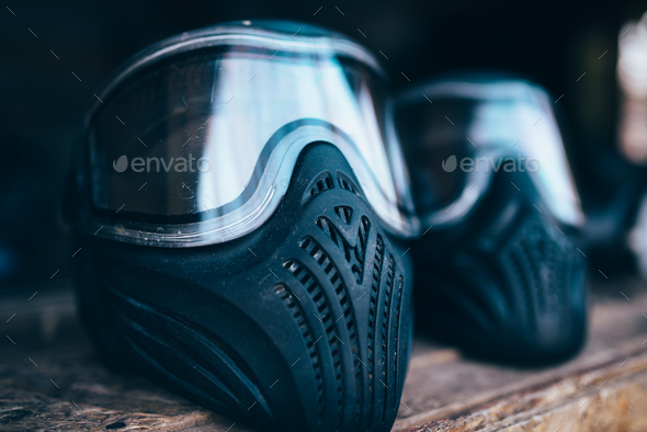 Paintball mask with glasses closeup, nobody - Stock Photo - Images