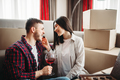 Couple drink wine, moving to new house celebration - PhotoDune Item for Sale