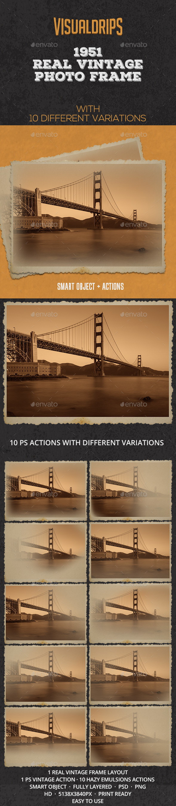 1951 Vintage Frame Photoshop Template - Miscellaneous Photo Templates