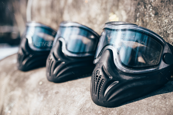 Paintball masks with glasses closeup, nobody - Stock Photo - Images