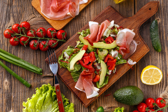Green salad with prosciutto - Stock Photo - Images