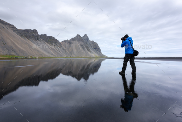 Photographer take photo near famous Stokksnes mountains - Stock Photo - Images
