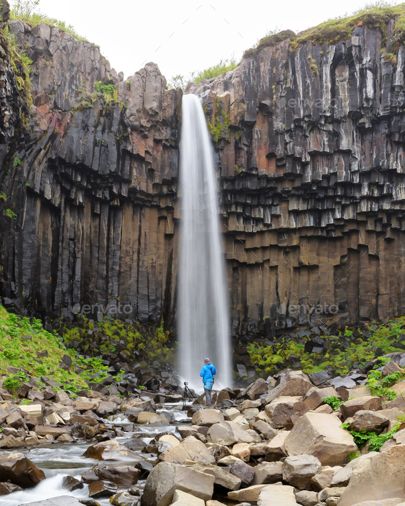 Famous Svartifoss waterfall - Stock Photo - Images