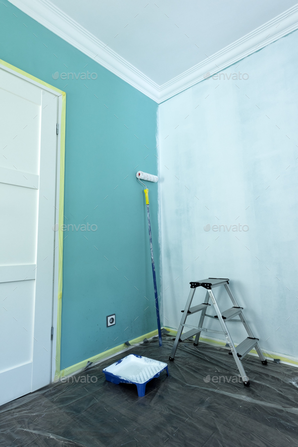 Painting tools on wall background - Stock Photo - Images