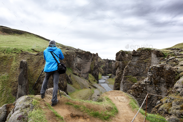 Fjadrargljufur canyon in South east Iceland - Stock Photo - Images