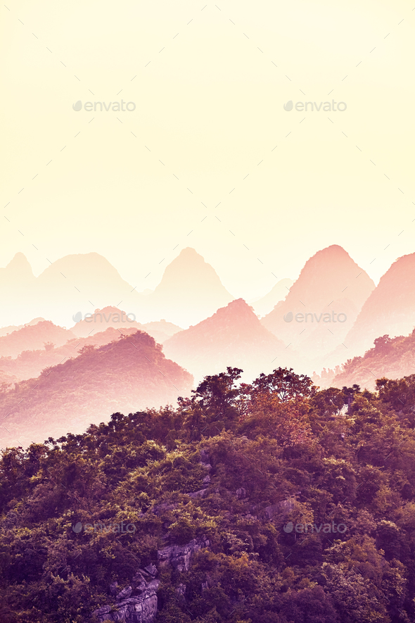 Sunset over Karst mountains in Guilin, China. - Stock Photo - Images