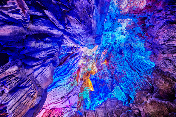 Ceiling of the Reed Flute Cave, China. - Stock Photo - Images