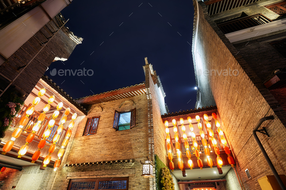 Traditional old town architecture in Guilin at night. - Stock Photo - Images