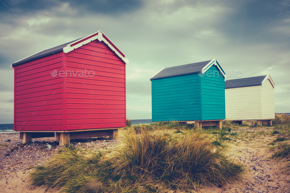 British Retro Beach Huts - Stock Photo - Images