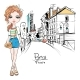 Vector Fashion Girl in Summer Clothes in Paris