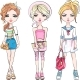 Vector Set of Fashionable Girls - GraphicRiver Item for Sale