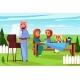 Arabian Family Barbecue Picnic Vector Illustration