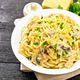 Fusilli with mushrooms and cream in plate on board - PhotoDune Item for Sale