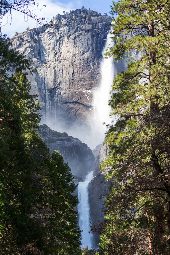 Waterfall in Yosemite - Stock Photo - Images