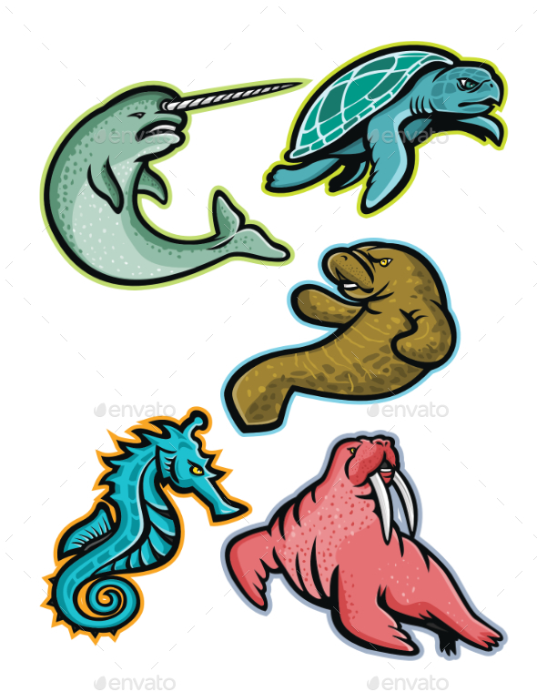 Aquatic Animals and Marine Mammals Collection - Animals Characters