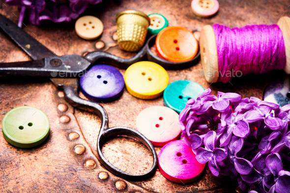 Bright buttons and lilac branch - Stock Photo - Images