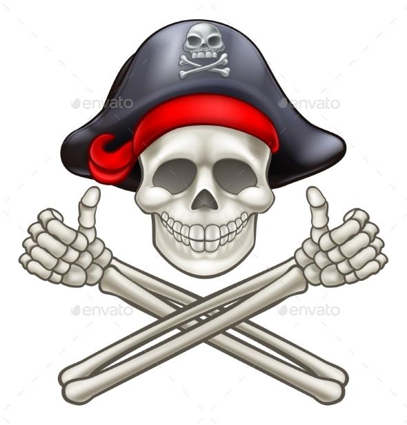 Pirate Skull and Cross Bones Cartoon - Miscellaneous Vectors