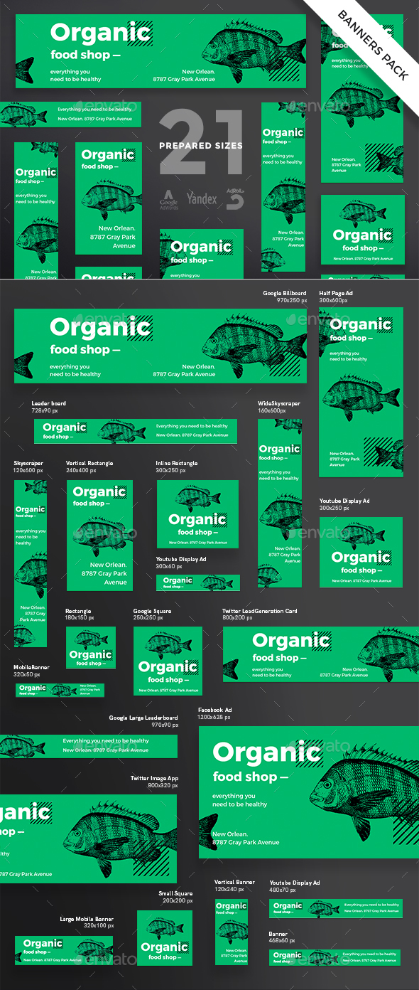 Organic Food Shop Banner Pack - Banners & Ads Web Elements