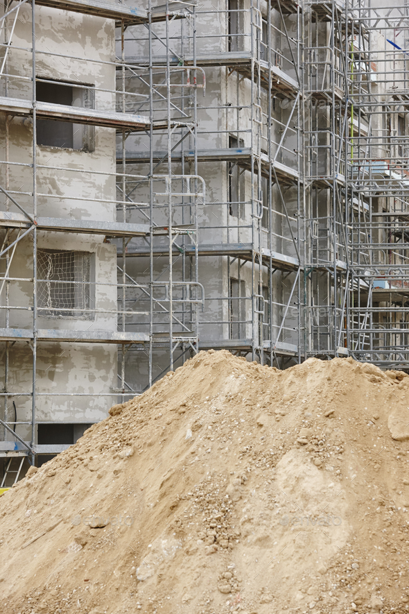 Scaffolding structure on a building. Construction architecture industry. Workplace - Stock Photo - Images