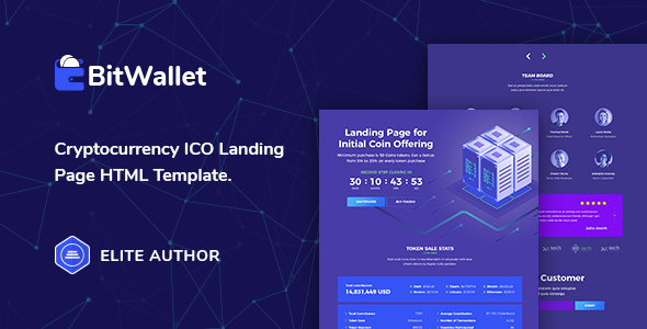 BitWallet – Cryptocurrency ICO Landing Page HTML Template