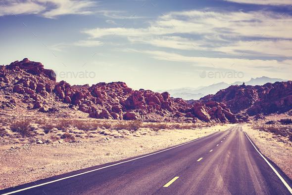 Retro toned desert road, travel concept. - Stock Photo - Images