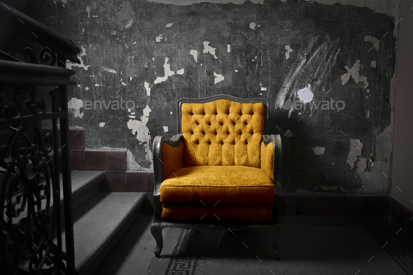 Yellow armchair - Stock Photo - Images