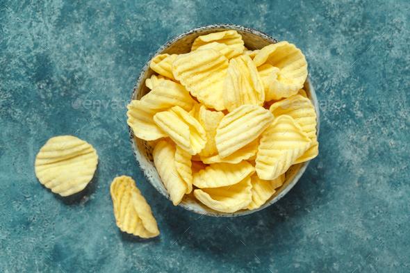Crispy potato chips  - Stock Photo - Images