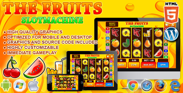 Slot Machine The Fruits - HTML5 Casino Game - CodeCanyon Item for Sale
