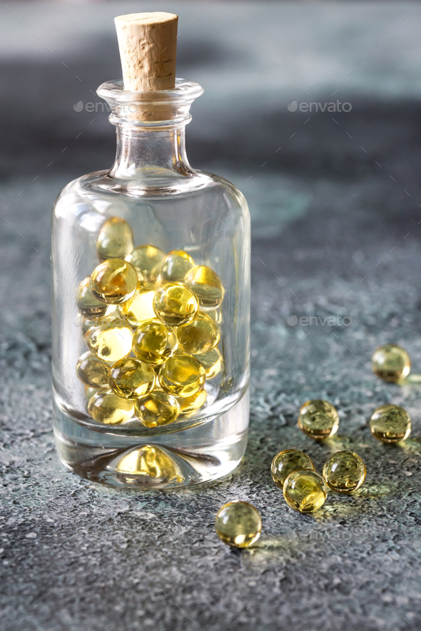 Omega-3 fish oil capsules  - Stock Photo - Images