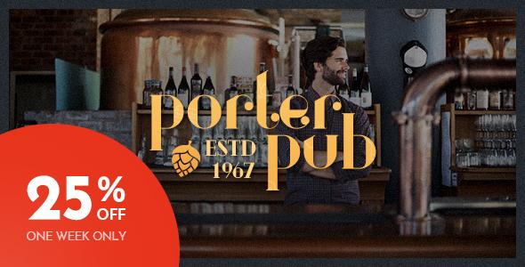 Porter Pub - Restaurant & Bar WordPress Theme