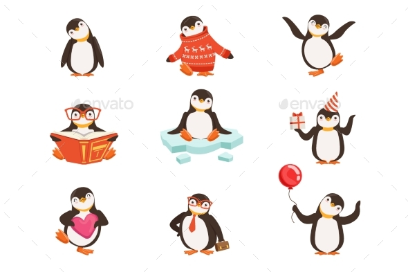 Little Penguin Cartoon Characters Set - Animals Characters
