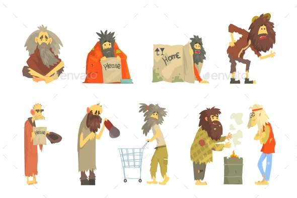 Set of Homeless People - People Characters