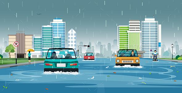 Rain Flooded the City - Seasons Nature