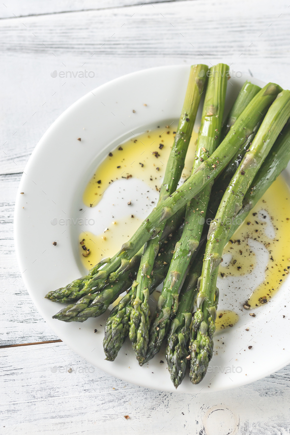 Cooked asparagus on the plate - Stock Photo - Images
